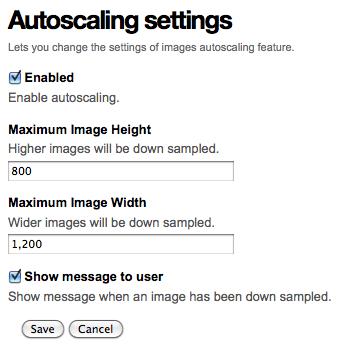 Autoscaling settings